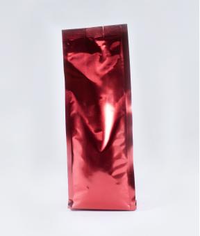 Foto de Bolsa con fuelle lateral rojo de 250g sin válvula